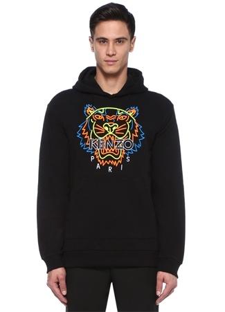 Siyah Kapüşonlu Neon Kaplan Jakarlı Sweatshirt