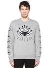 Gri Melanj Göz Nakışlı Sweatshirt