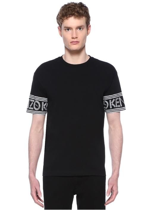 Siyah Bisiklet Yaka Kolu Şerit Logolu T-shirt