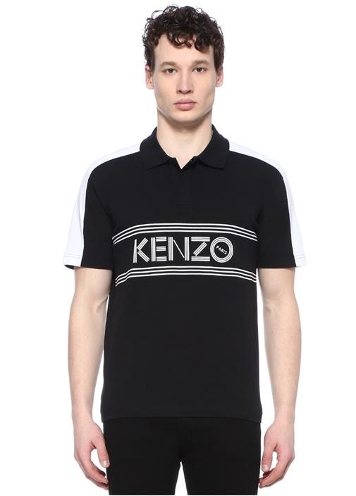 Siyah Polo Yaka Logolu Şeritli T-shirt