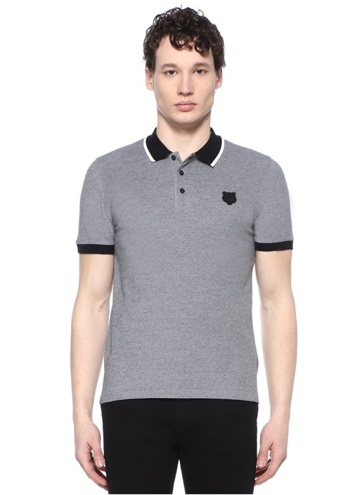 K Fit Gri Polo Yaka Logo Patchli T-shirt