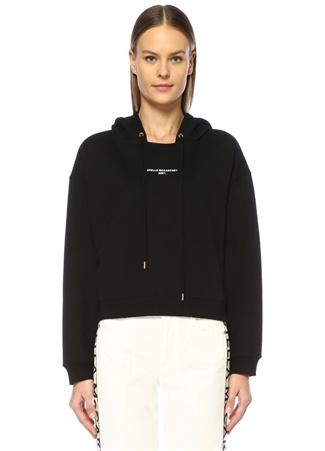 Stella McCartney Kadın 200 Siyah Kapüşonlu Logo Baskılı Sweatshirt 42 IT
