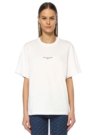 Stella McCartney Kadın 200 Beyaz Logo Baskılı T-shirt 44 IT