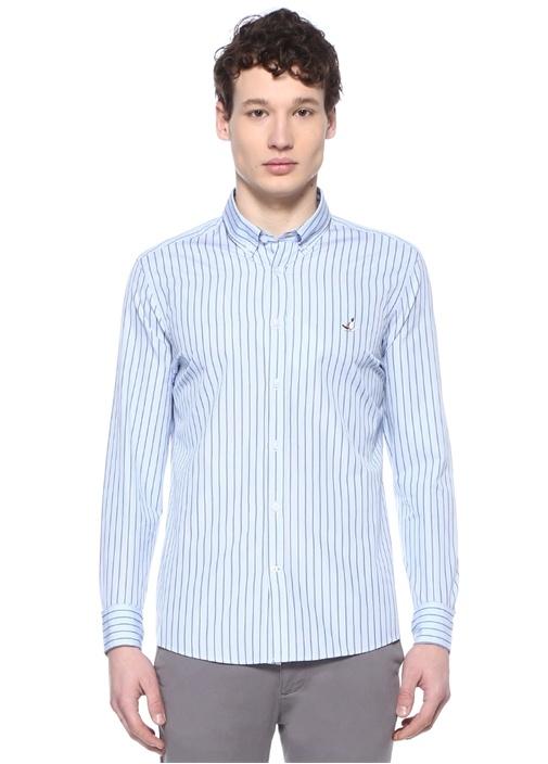 Slim Fit Mavi Düğmeli Yaka Çizgili Gömlek