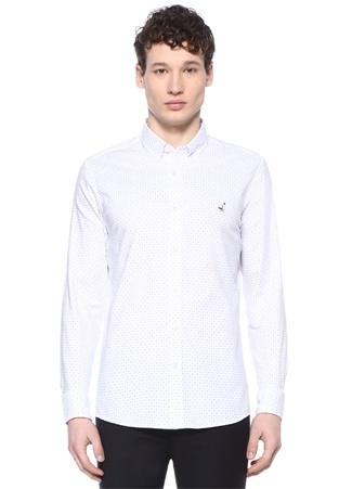 Erkek Slim Fit Beyaz Düğmeli Yaka Mikro Desenli Gömlek L