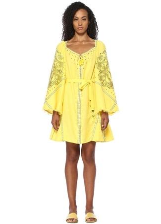 Sleeping Gypsy Kadın Sarı Etnik Nakışlı Beli Kuşaklı Mini Keten Elbise S EU