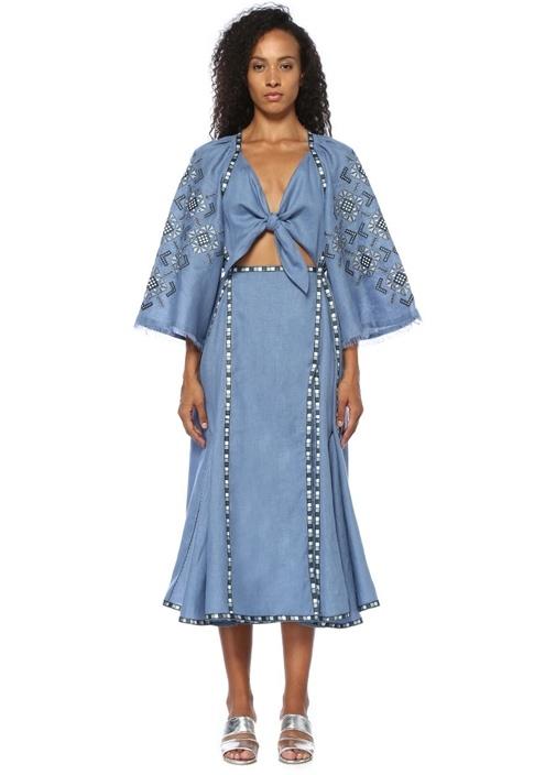 Mavi Etnik Nakışlı Önü Bağcıklı Midi Keten Elbise