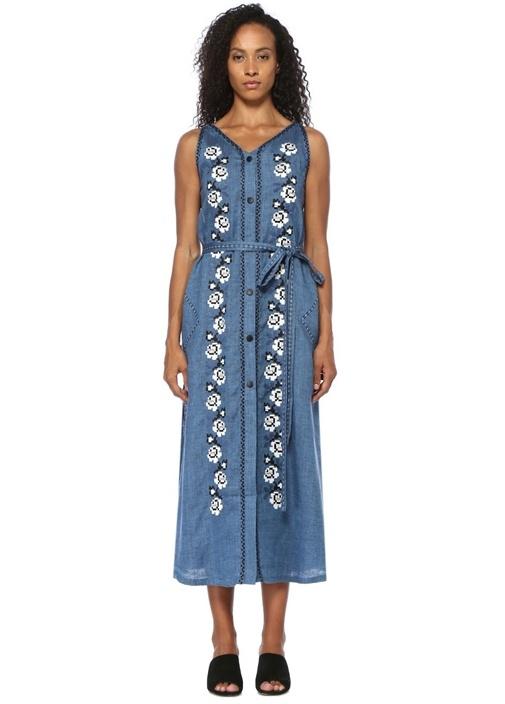 Mavi V Yaka Nakışlı Kuşaklı Midi Keten Elbise