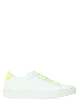 Common Projects Erkek Beyaz Neon Sarı Bağcıklı Deri Sneaker 45 EU male