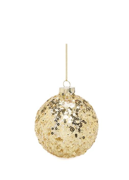 Gold Pullu Oval Formlu Cam Yılbaşı Süsü