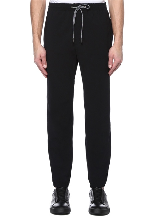 Siyah Normal Bel Paça Detaylı Spor Pantolon