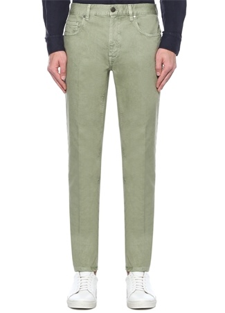 Erkek Yeşil Normal Bel Dar Paça Jean Pantolon 35 IT