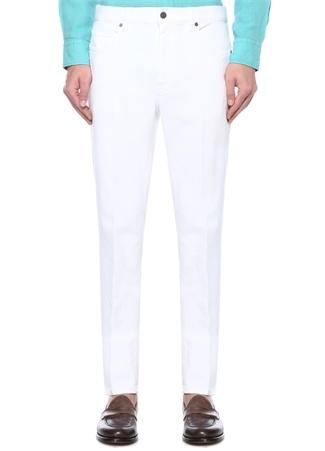 Beyaz Normal Bel Dar Paça Jean Pantolon