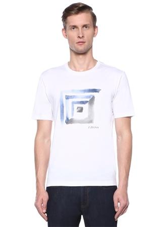 Beyaz Bisiklet Yaka Baskılı Logolu Basic T-shirt