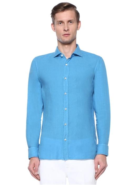 Mavi Ayaksız İtalyan Yaka Keten Gömlek