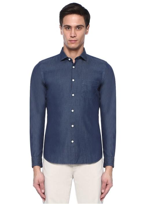 Lacivert İngiliz Yaka Gömlek