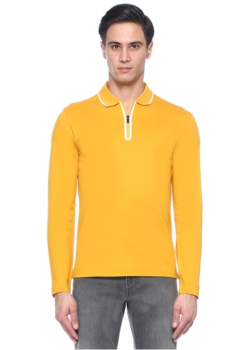 Sarı Polo Yaka Pike Dokulu Sweatshirt