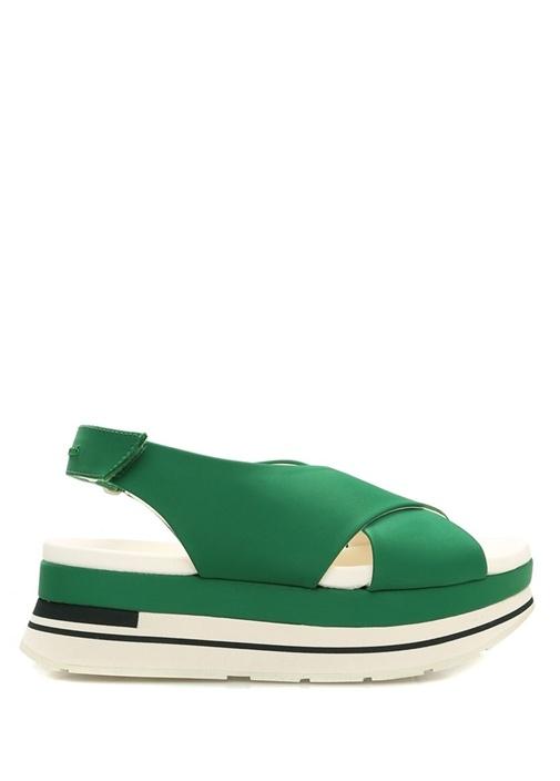 Gelama Yeşil Çapraz Bantlı Kadın Sandalet
