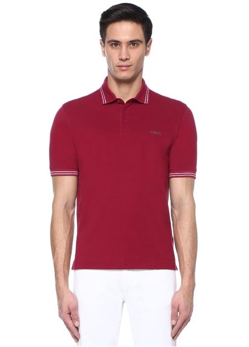 Bordo Logo Baskılı Polo Yaka T-shirt