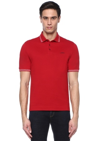 Z Zegna Erkek Kırmızı Polo Yaka Şeritli -shirt Yeşil XXL Ürün Resmi
