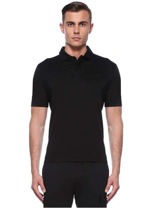 Siyah Logo Baskılı Polo Yaka T-shirt