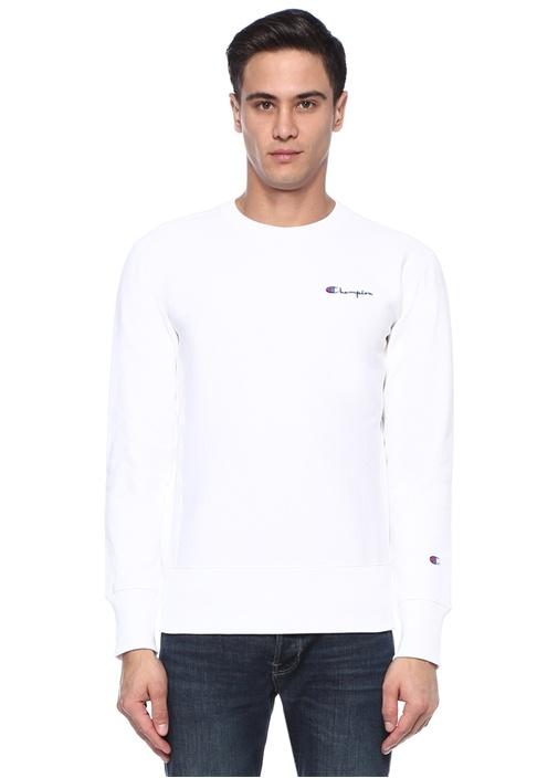 Beyaz Bisiklet Yaka Logo Patchli Sweatshirt