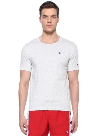 Gri Melanj Logo Nakışlı Basic T-shirt