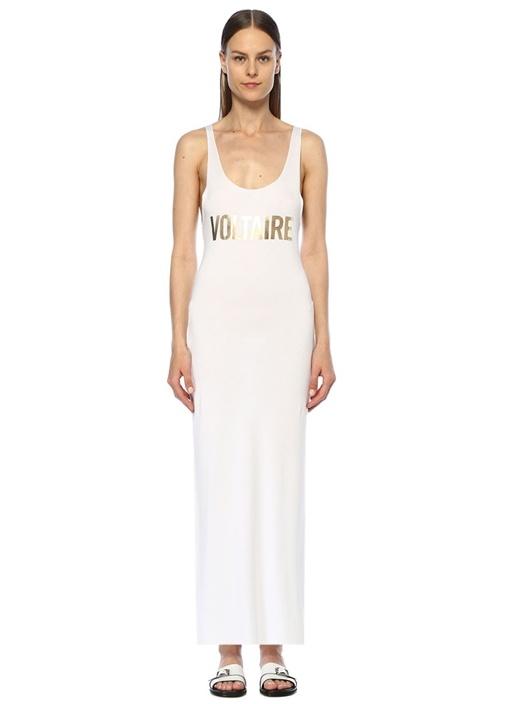 Beyaz Gold Logo Baskılı Maksi Plaj Elbisesi