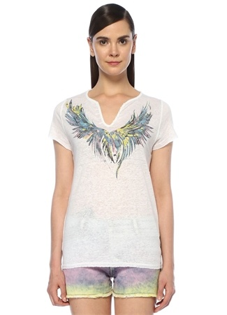 Zadig&Voltaire Kadın Tunisien Mc Wings Beyaz V Yaka Keten T-shirt M EU
