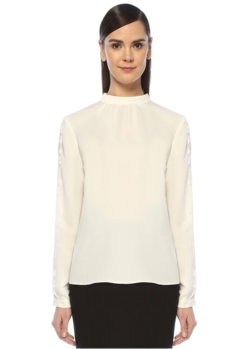 Beyaz Dik Yaka Kolu Dantel Garnili Bluz