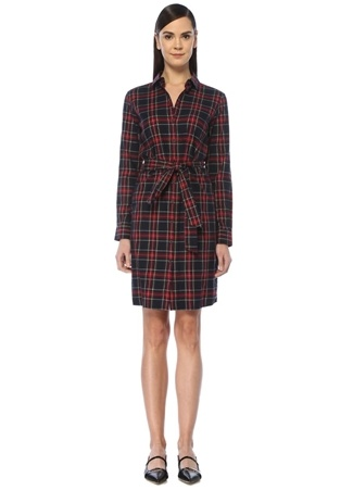 Brooks Brothers Kadın Lacivert Ekoseli Beli Kuşaklı Midi Gömlek Elbise 8 US