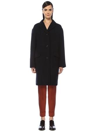 Brooks Brothers Kadın Lacivert Kelebek Yaka Yün Palto 0 US