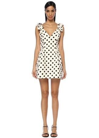 Zimmermann Kadın Corsage Beyaz Puanlı Fiyonklu Mini Keten Elbise Siyah 2 US