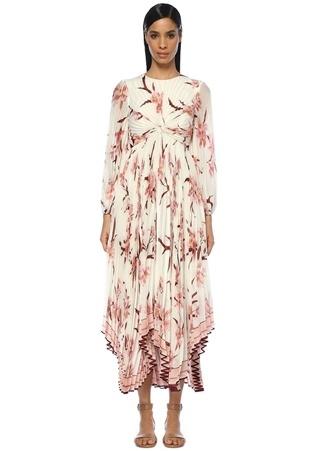 Zimmermann Kadın Corsage Beyaz Çiçekli Pileli Asimetrik Maxi Elbise Pembe 1 US Ürün Resmi