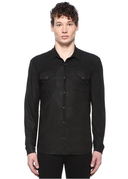 Siyah İngiliz Yaka Dokulu Dış Gömlek