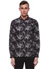 Siyah Küçük Yaka Çiçek Desenli Gömlek