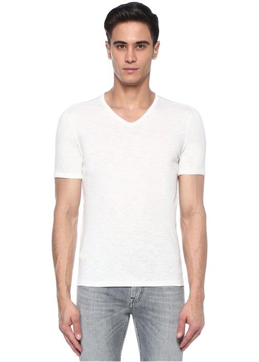 Beyaz V Yaka T-shirt