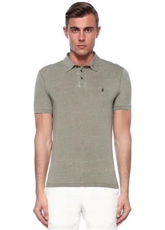 Haki Polo Yaka İşleme Detaylı T-shirt