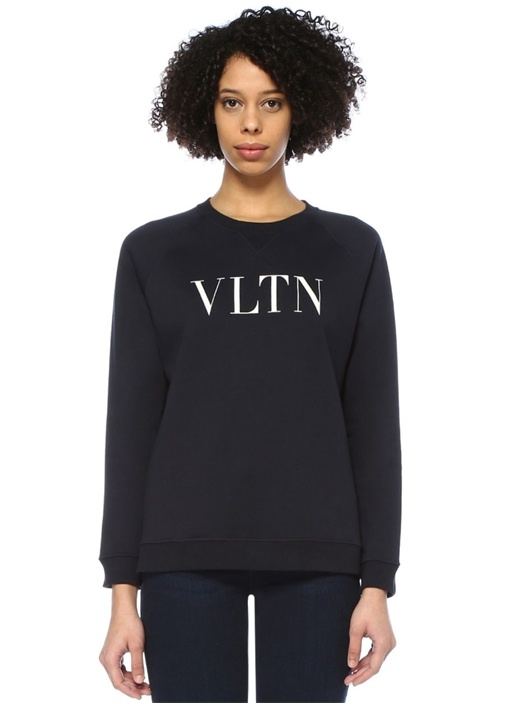 VLTN Lacivert Logo Baskılı Reglan Kol Sweatshirt