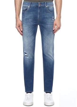 7 For All Mankind Erkek Ronnie Skinny Fit Mavi Yıpratmalı Jean Pantolon 38 US