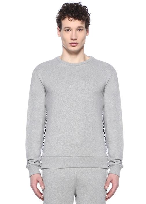 Gri Melanj Şerit Logo Jakarlı Sweatshirt