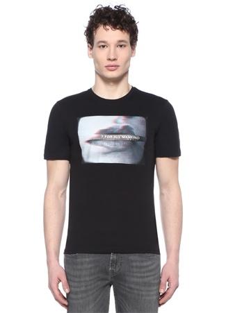 Graphic Siyah Bisiklet Yaka Baskılı T-shirt