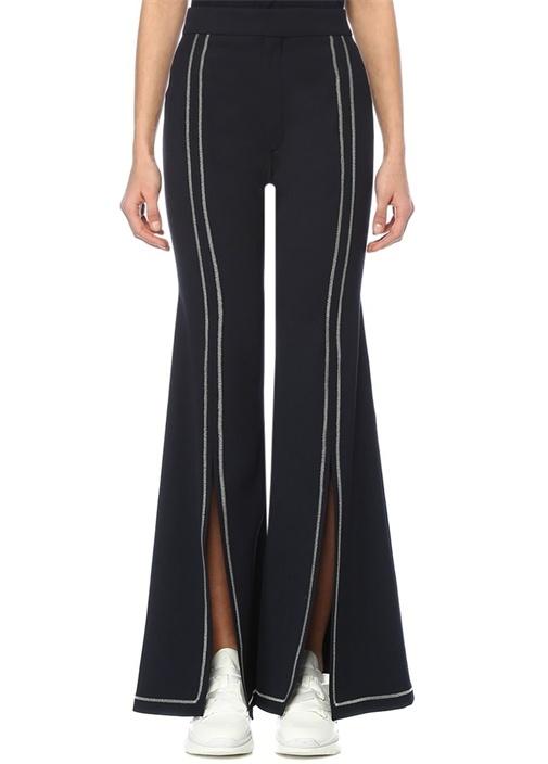 Lacivert Yüksek Bel Kontrast Dikişli Bol Pantolon