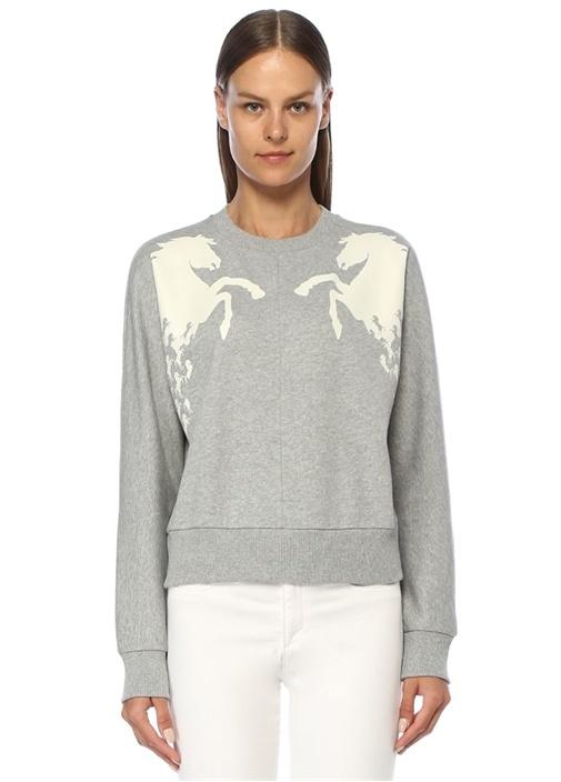 Gri Beyaz At Baskılı Sweatshirt
