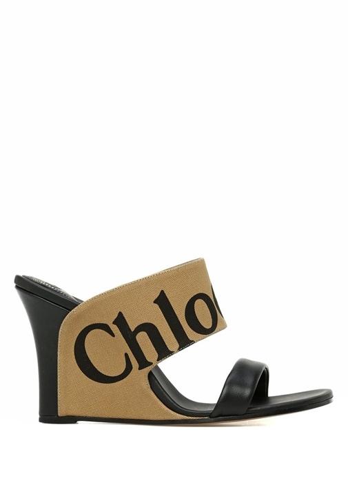 Bej Siyah Logo Jakarlı Kadın Deri Sandalet