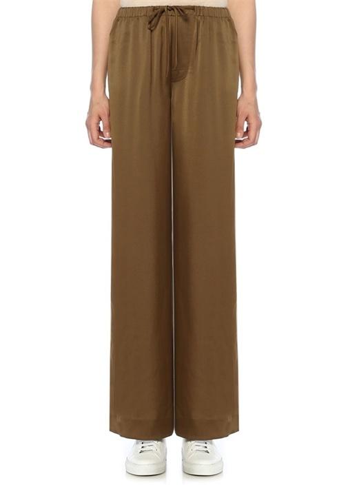 Haki Beli Bağcıklı Bol Paça Pijama Pantolon