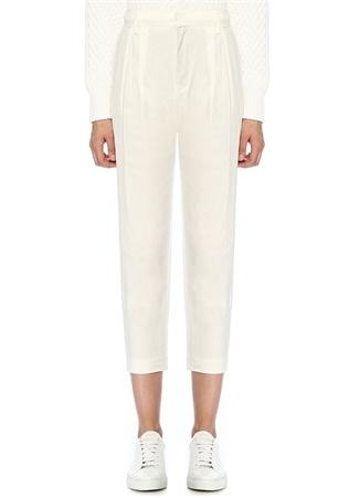 Vince Kadın Beyaz Yüksek Bel Pilili Crop Keten Pantolon 6 US