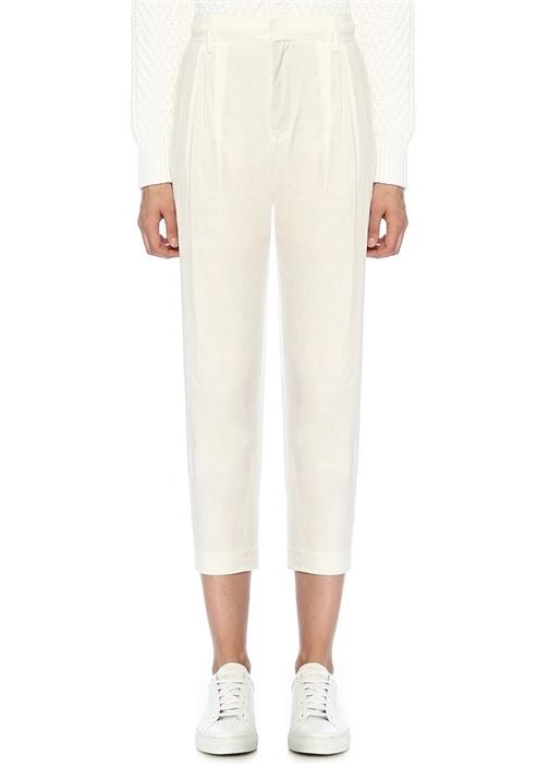 Beyaz Yüksek Bel Pileli Crop Keten Pantolon