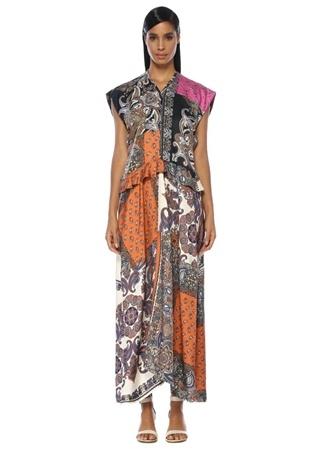 a6e69c13a54f0 V Yaka Şal Desenli Volanlı Maksi Elbise