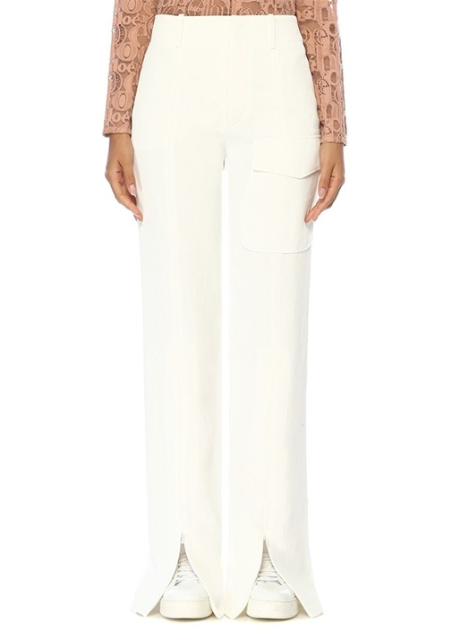 Beyaz Yırtmaç Detaylı Bol Paça Pantolon